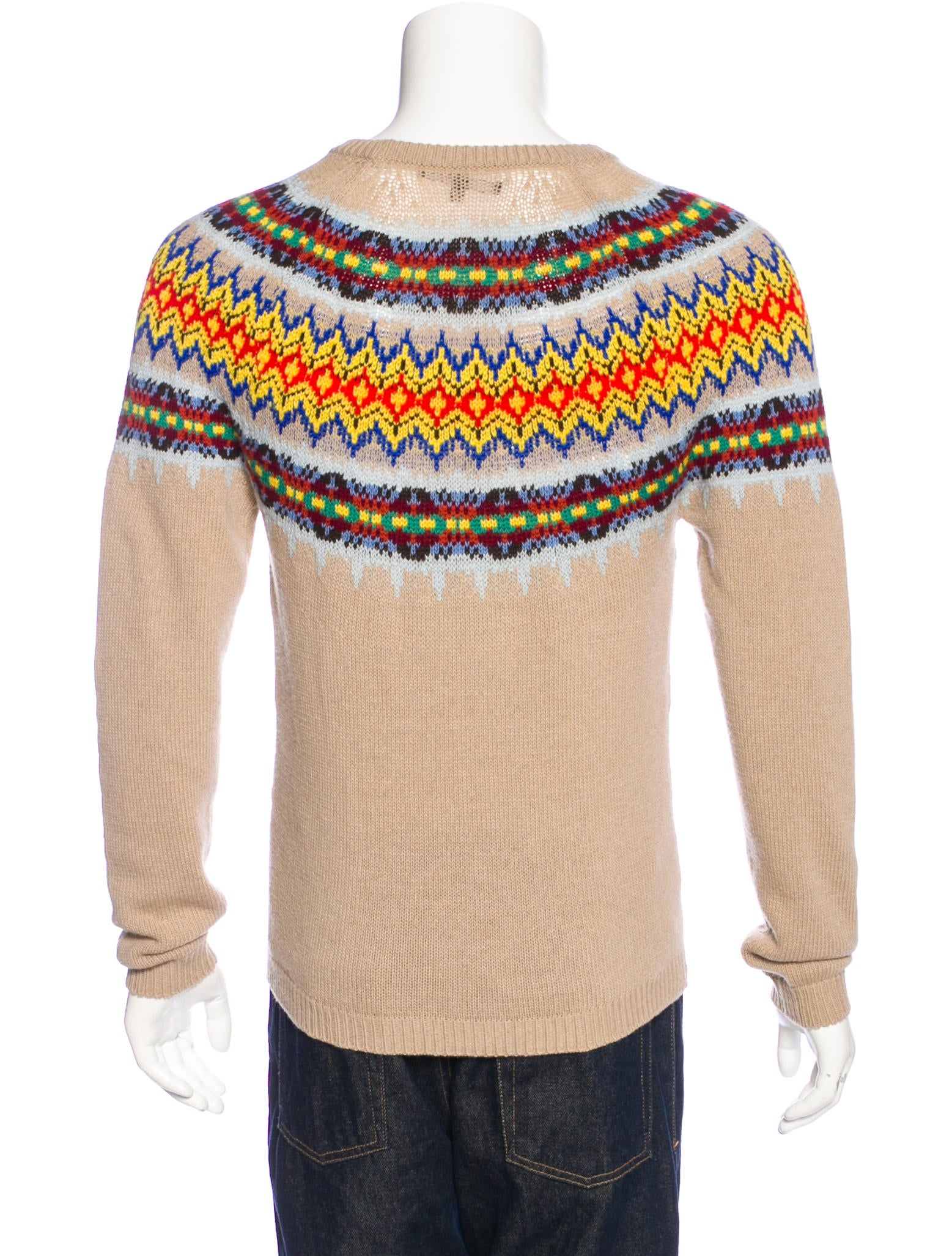 Wool Sweater Grey: Gucci Fair Isle Wool Sweater - Clothing - GUC157648