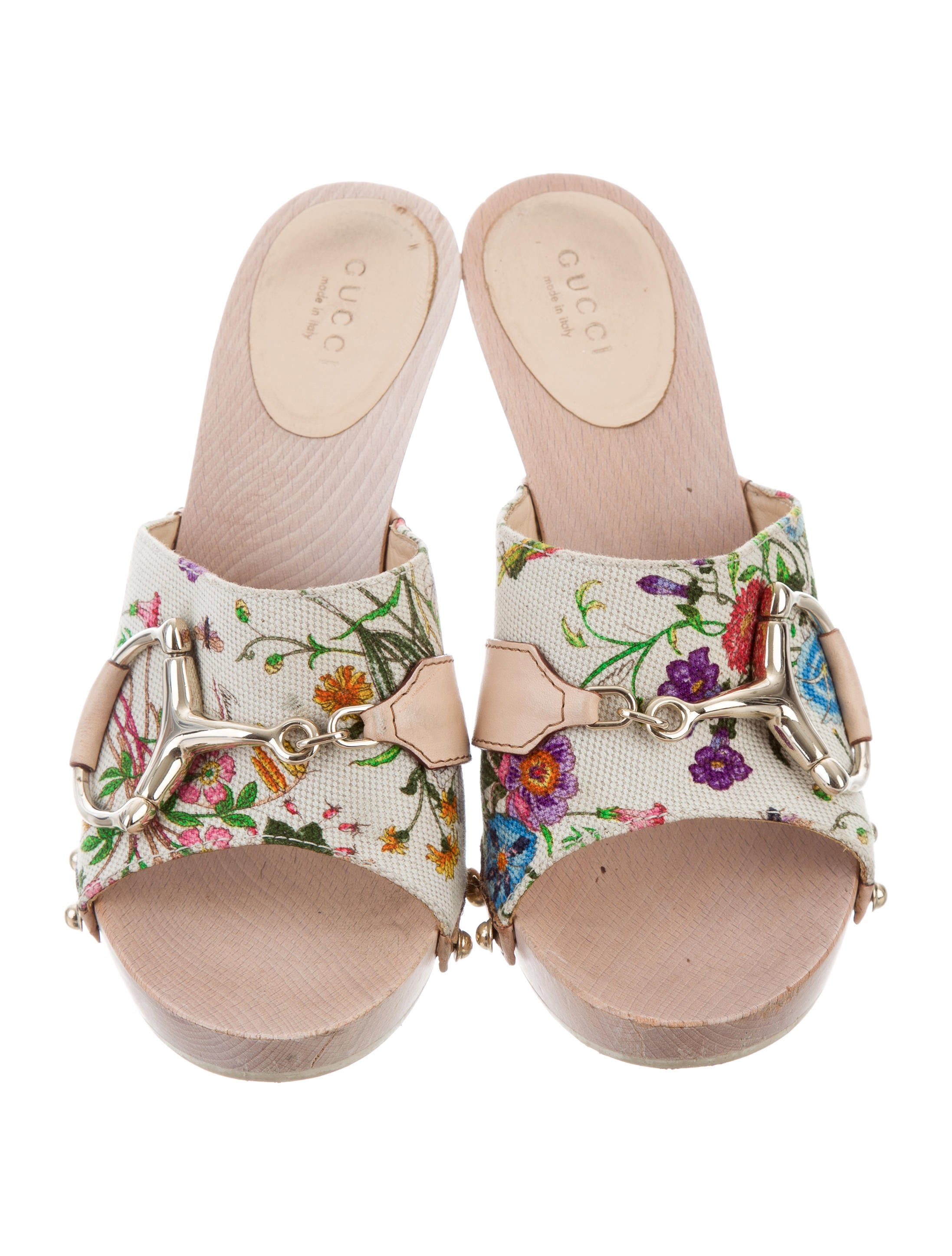 gucci floral slide sandals - shoes