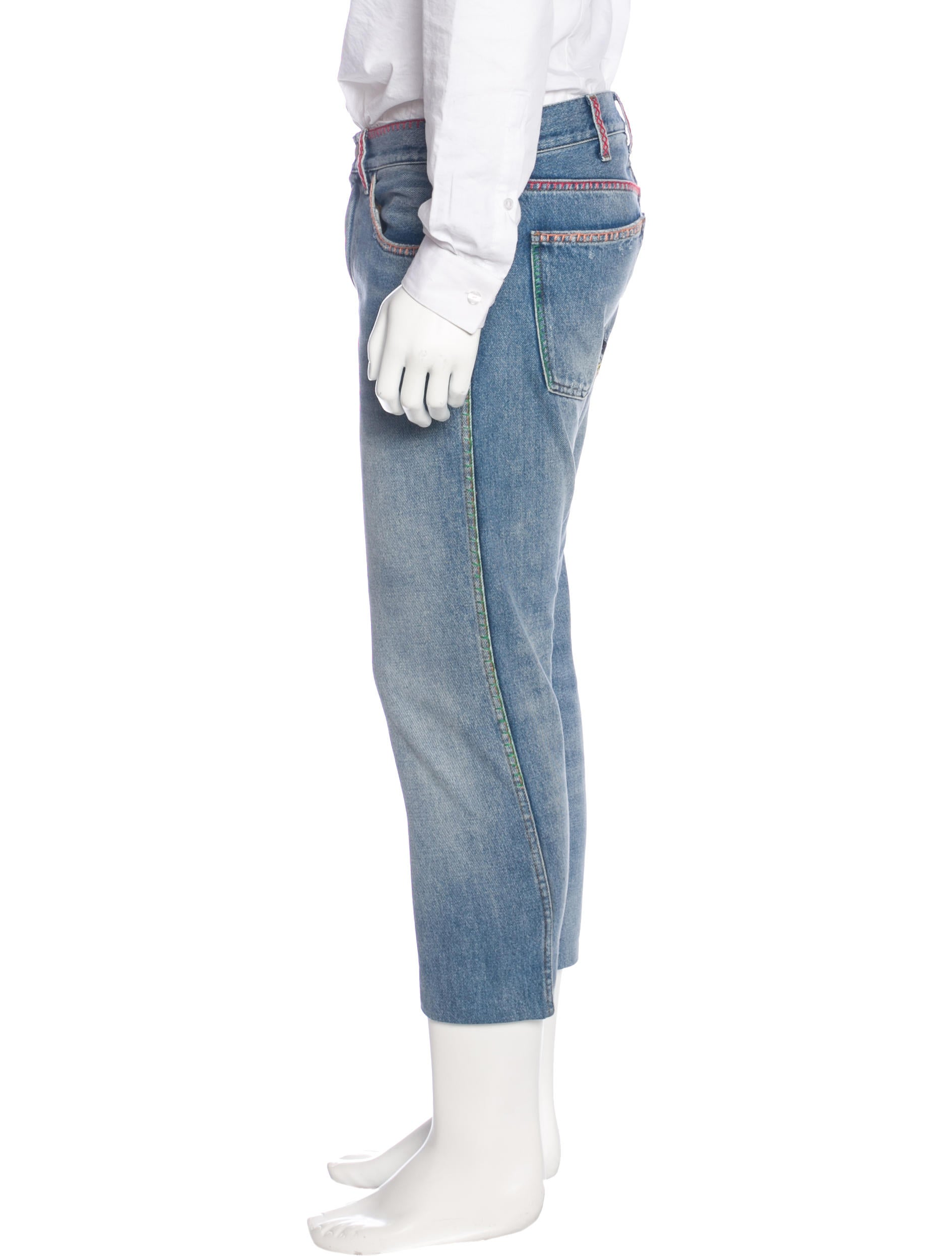 Gucci embroidered cropped slim jeans clothing