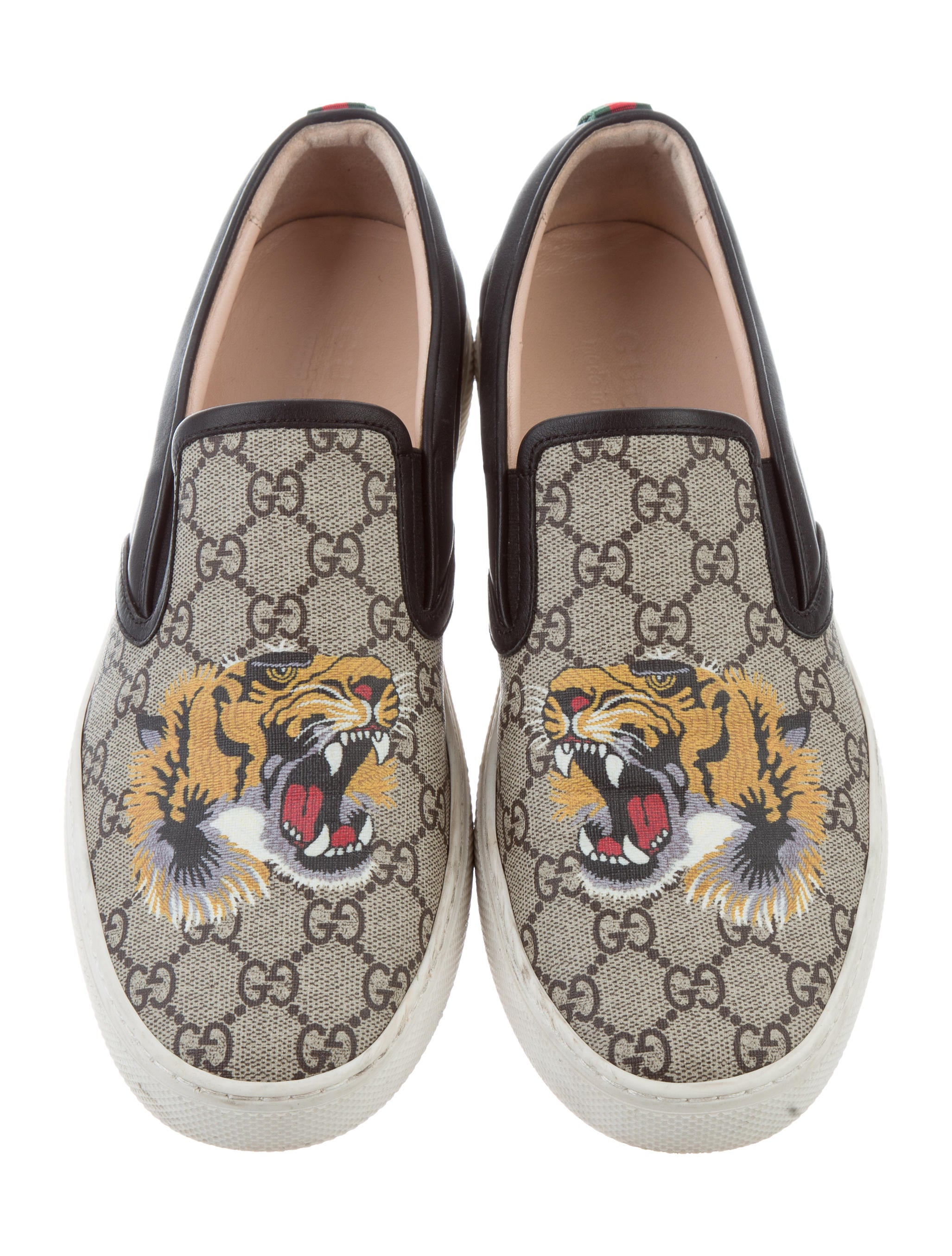 Gucci Supreme Tiger Slip On Sneakers Shoes GUC158583  : GUC1585833enlarged from www.therealreal.com size 2054 x 2709 jpeg 658kB