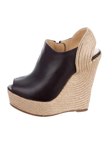 Gucci Leather Espadrille Wedges None