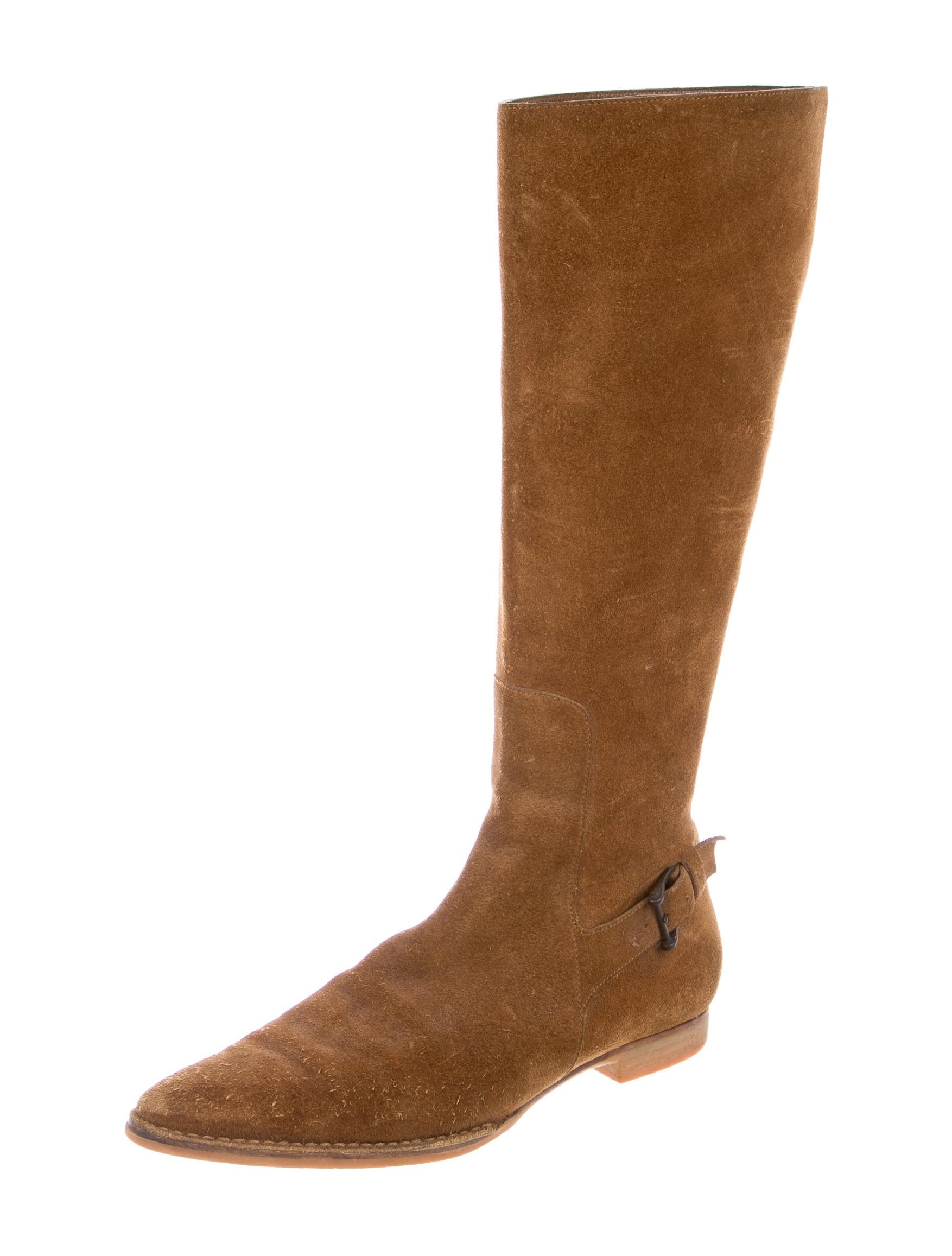 gucci suede knee high boots shoes guc158885 the realreal