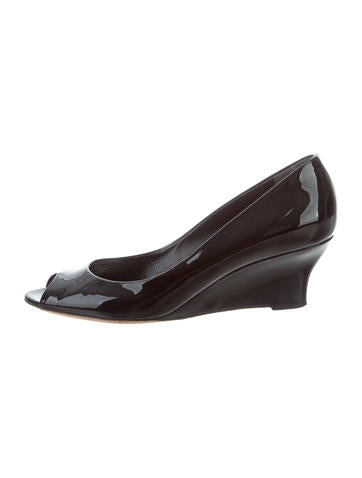 Gucci Peep-Toe Patent Leather Wedges None