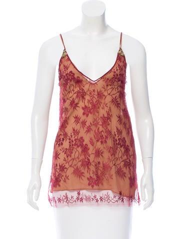 Gucci 2015 Sleeveless Silk Lace Top None