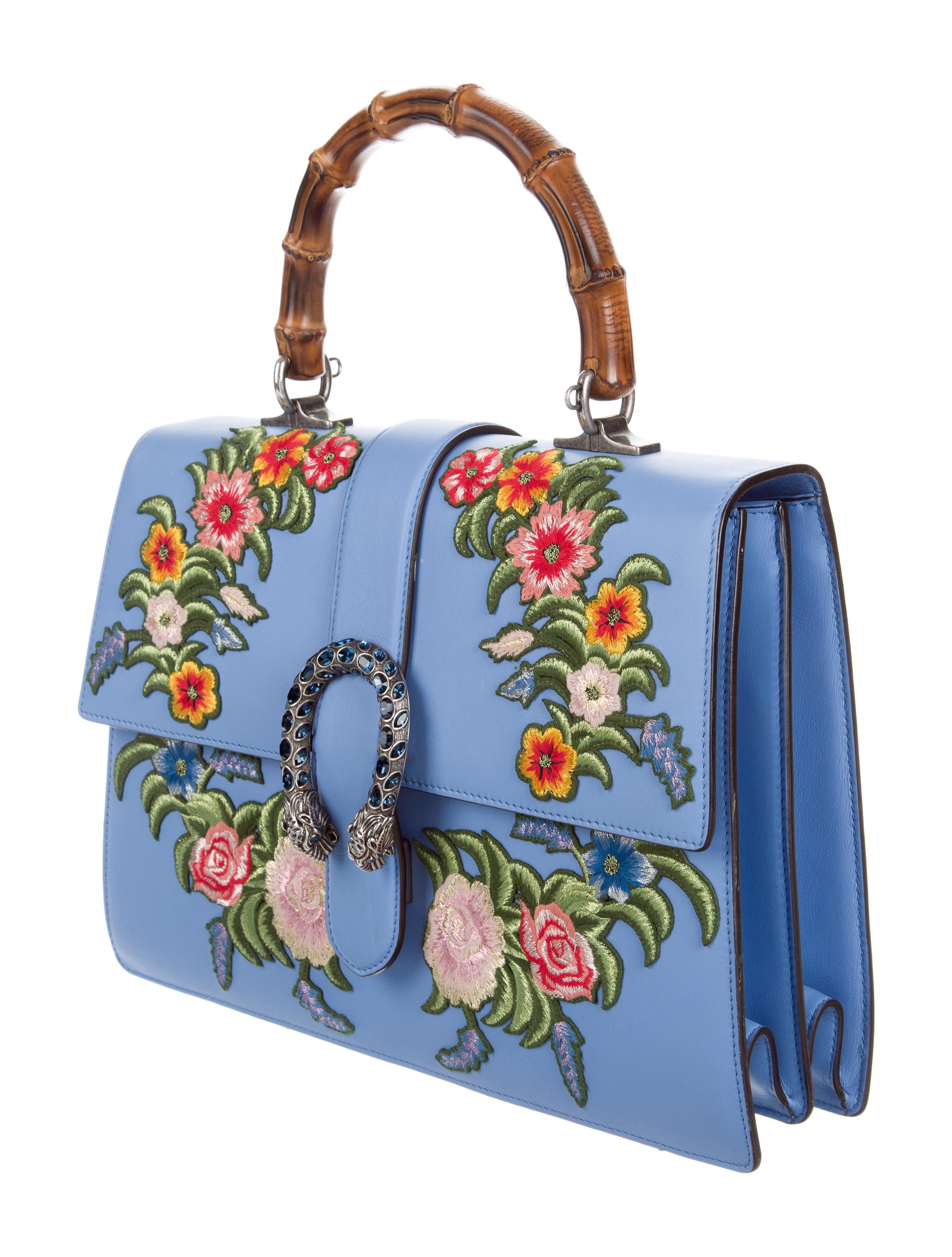 42ebc35f4e57 Gucci Embroidered Dionysus Bamboo Top Handle Bag - Handbags - GUC160109 |  The RealReal