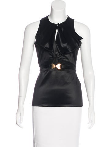 Gucci Pleated Sleeveless Top None