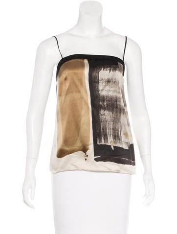 Gucci Leather-Accented Silk Top None