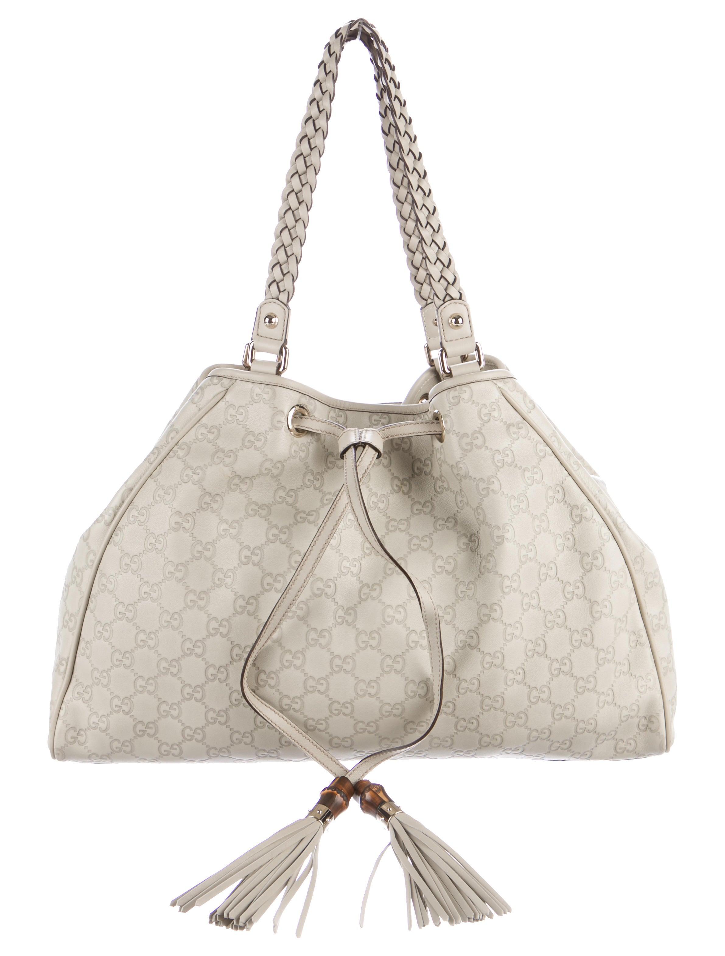 0fda1f4b5f6e Gucci Guccissima Peggy Bamboo Tote - Handbags - GUC161101 | The RealReal