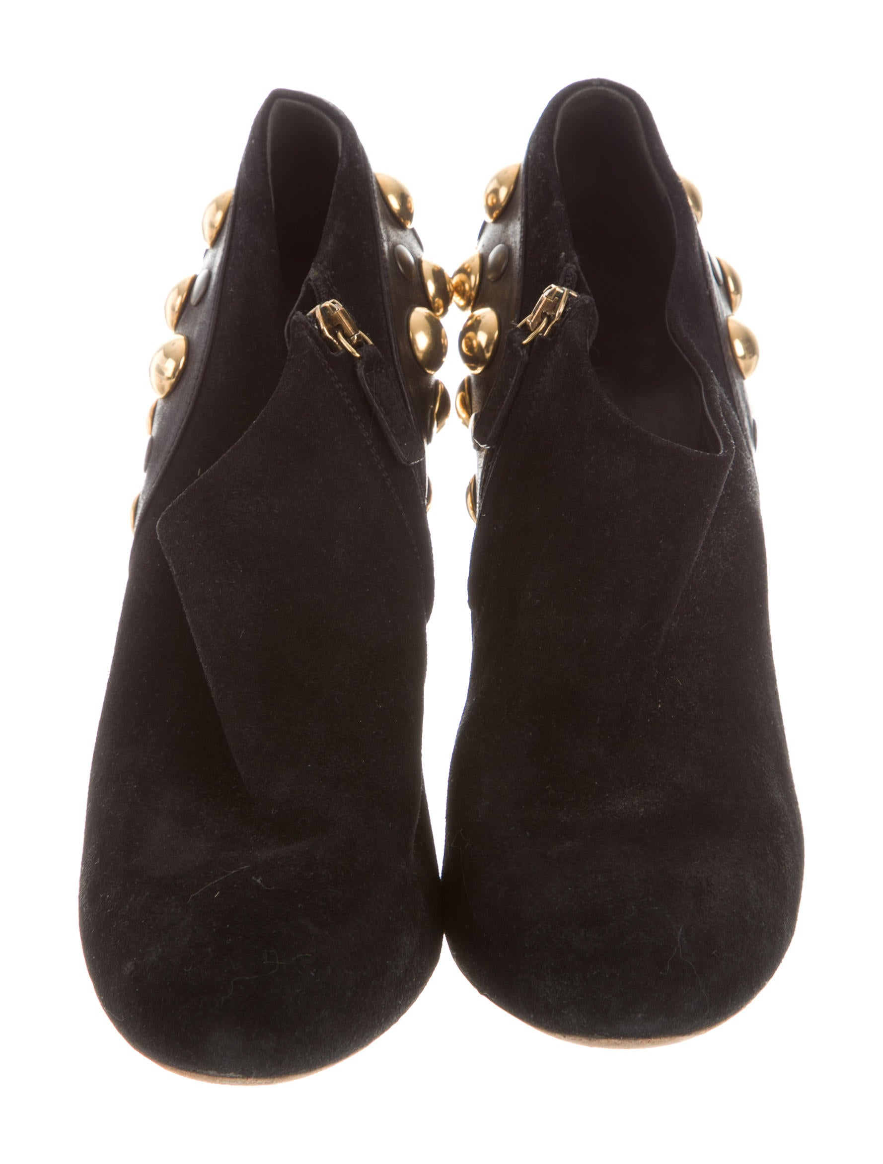 gucci suede studded booties shoes guc161307 the realreal