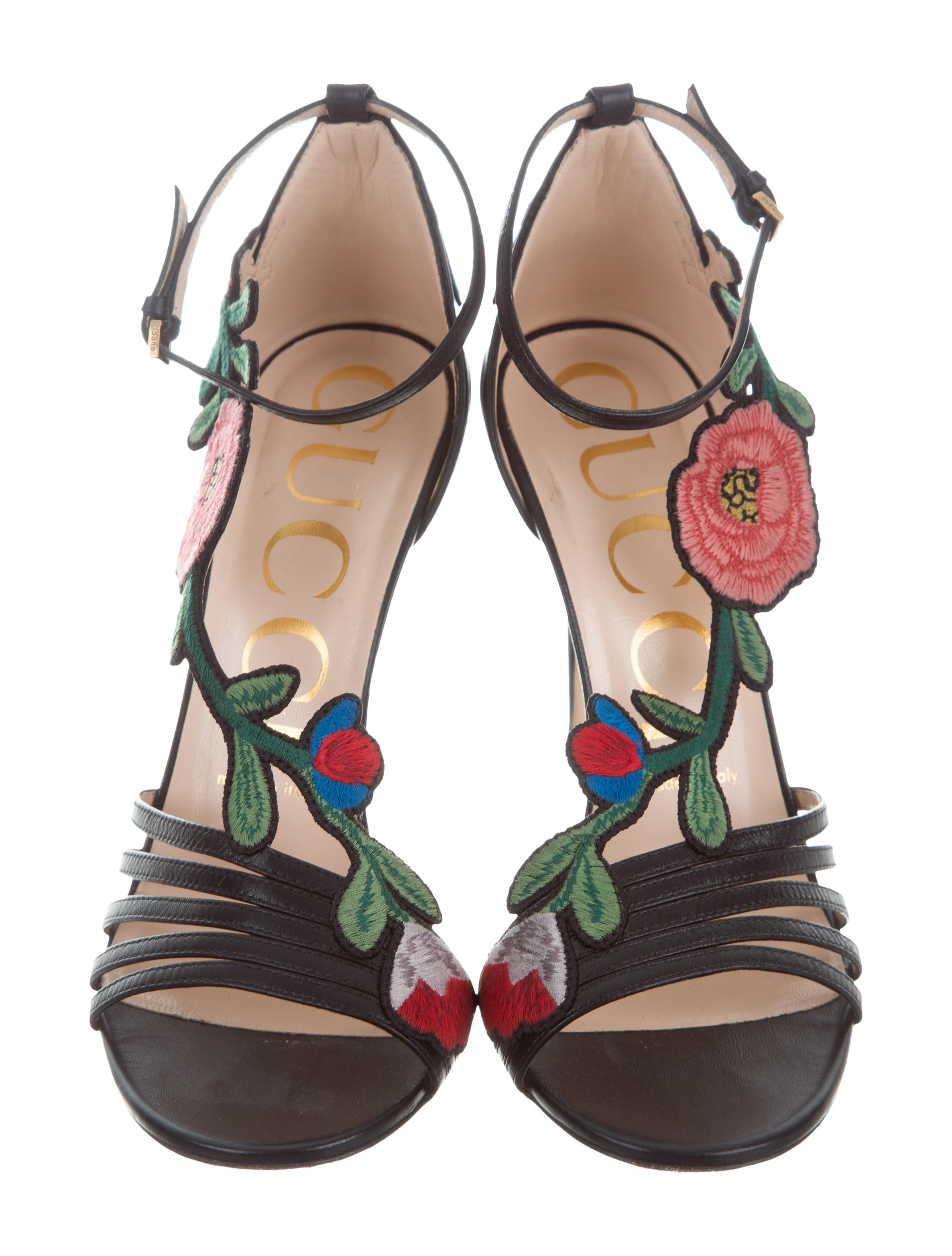 gucci 2017 floral-embroidered sandals - shoes