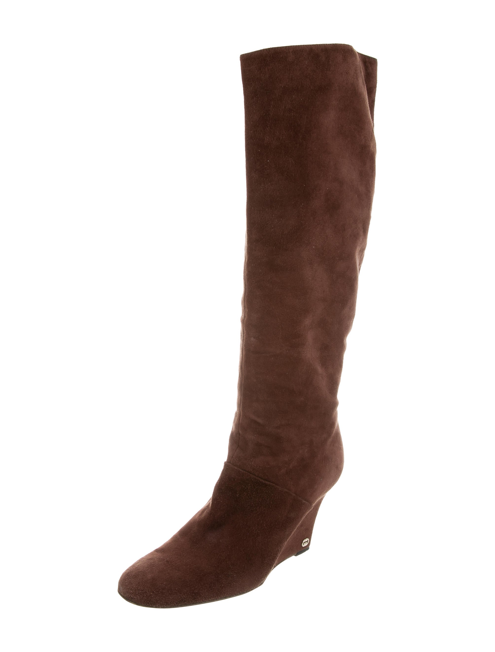 gucci suede wedge boots shoes guc161666 the realreal