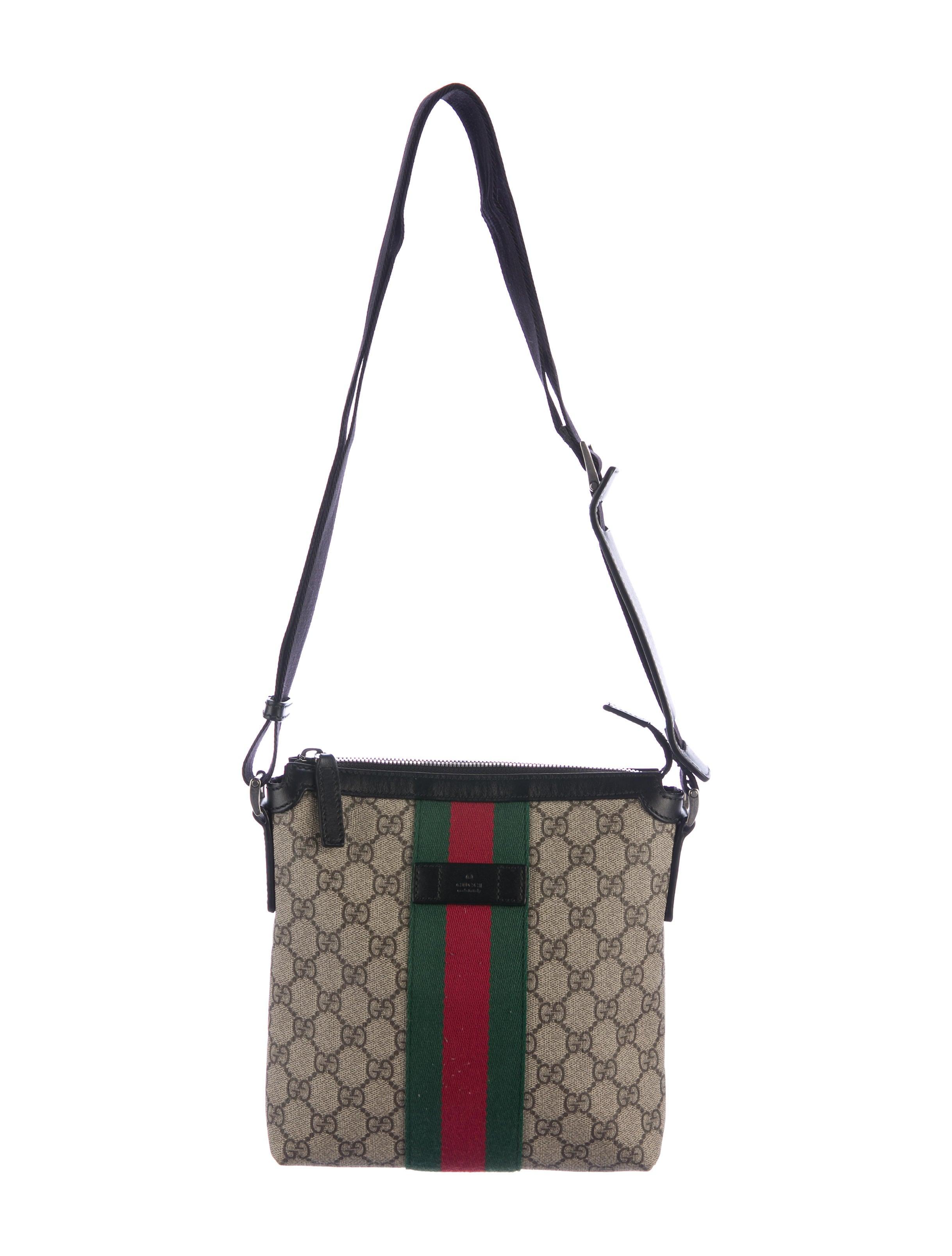 74bb60600c4 Gucci Web GG Supreme Flat Messenger Bag - Bags - GUC162009 | The RealReal
