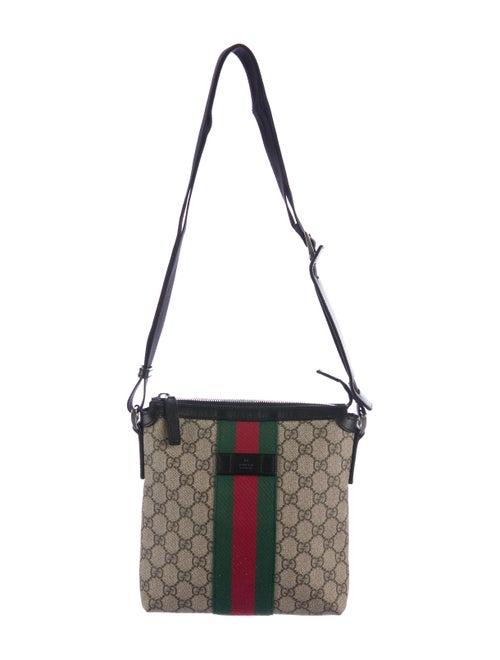 116b020b9bd6 Gucci Web GG Supreme Flat Messenger Bag - Bags - GUC162009 | The ...