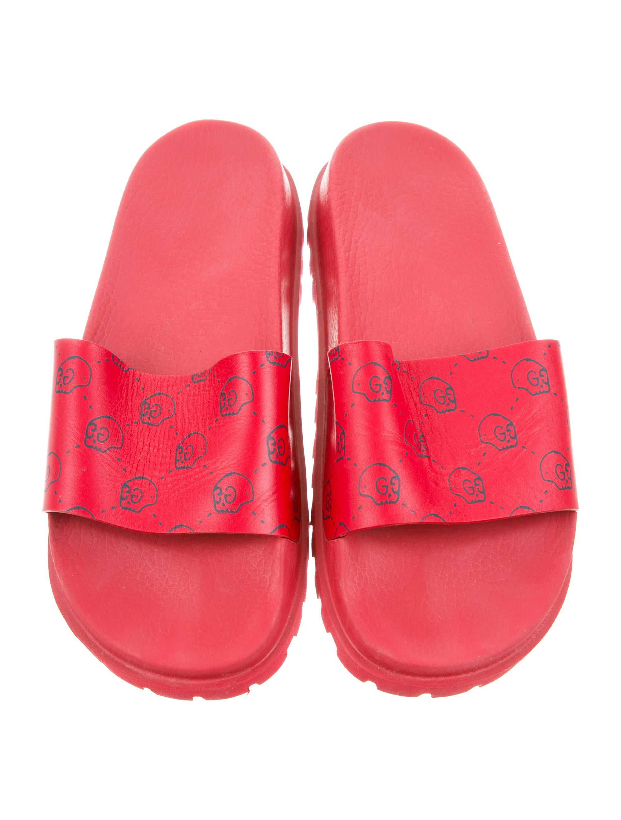 Gucci Guccighost Leather Slides - Shoes - GUC162208 | The ...
