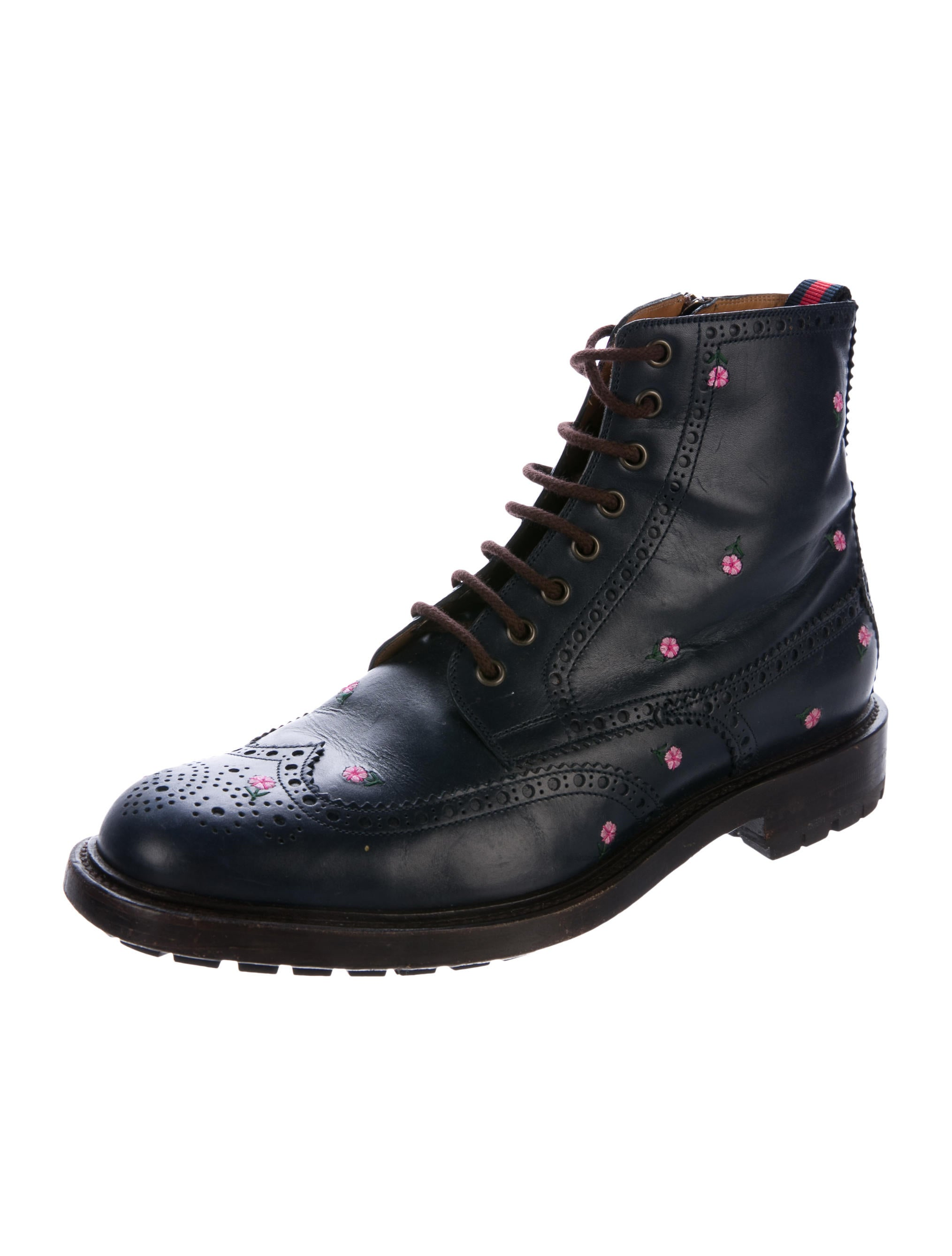 gucci floral-embroidered brogue boots - shoes