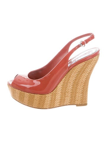 Gucci Peep-Toe Platform Wedges None