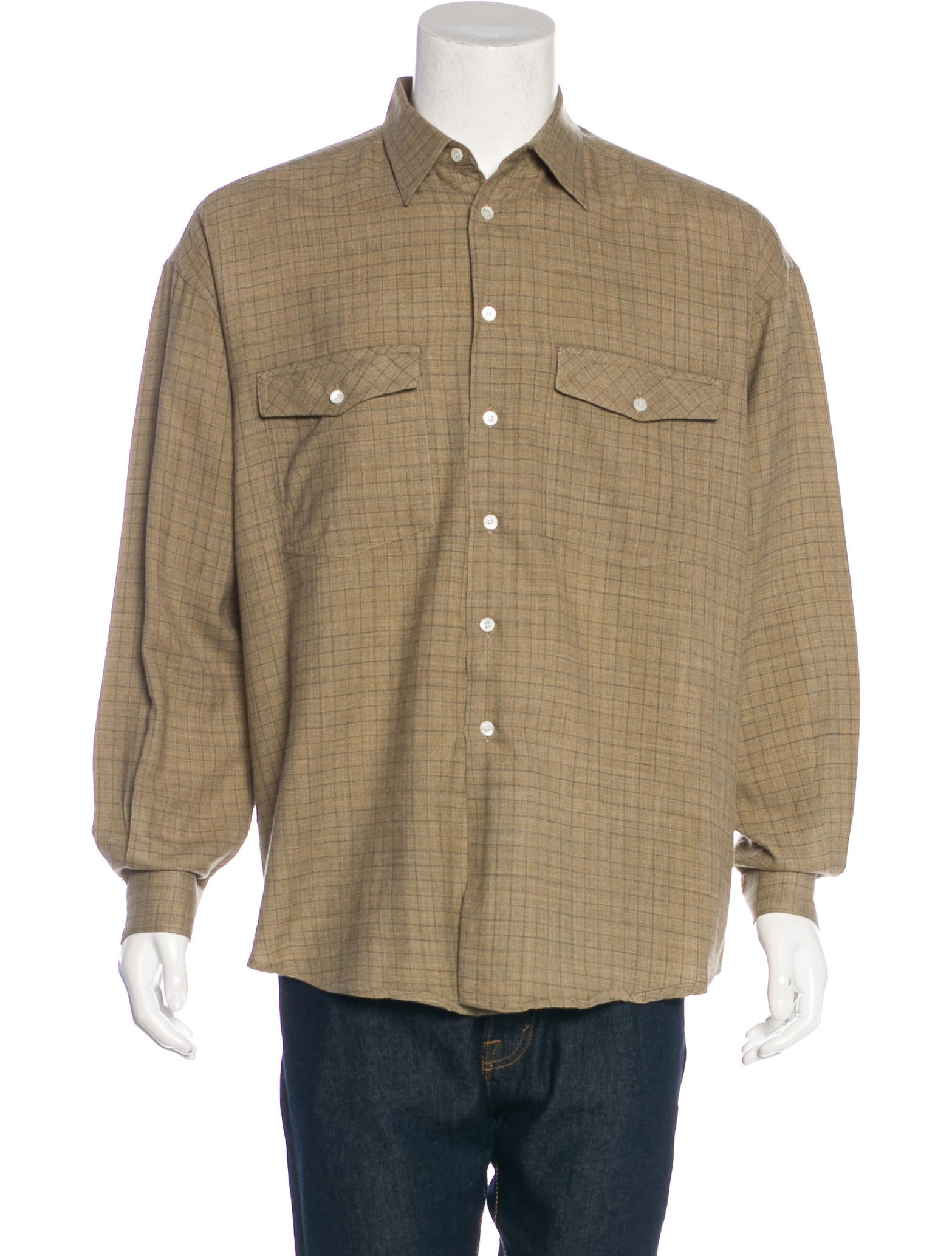 Gucci wool flannel shirt clothing guc163936 the realreal for Mens wool flannel shirt