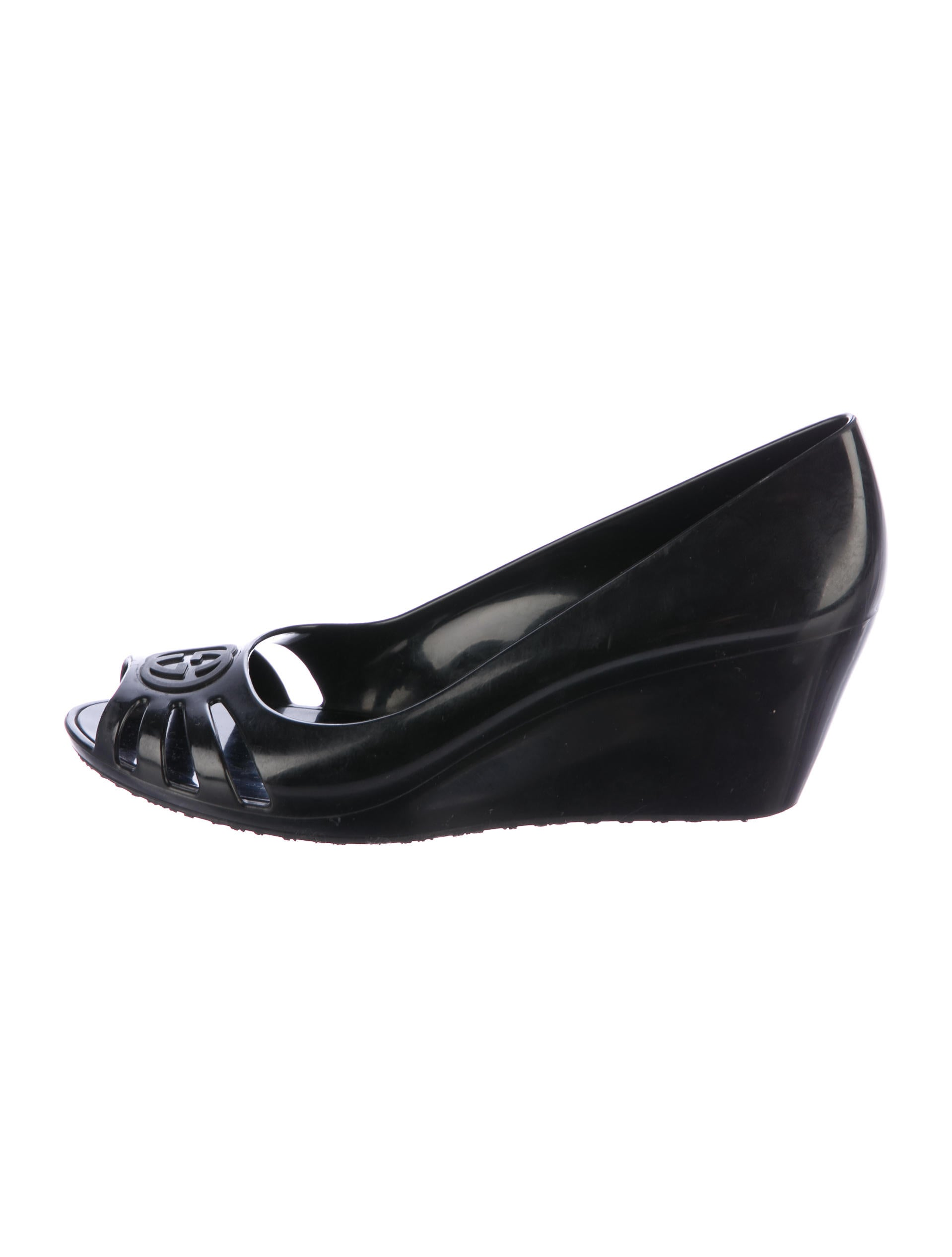 gucci gg peep toe wedges shoes guc164459 the realreal