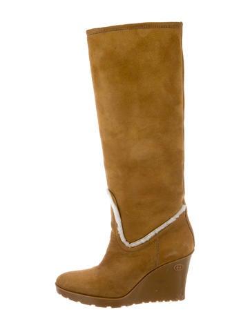 gucci shearling platform wedge boots shoes guc164478