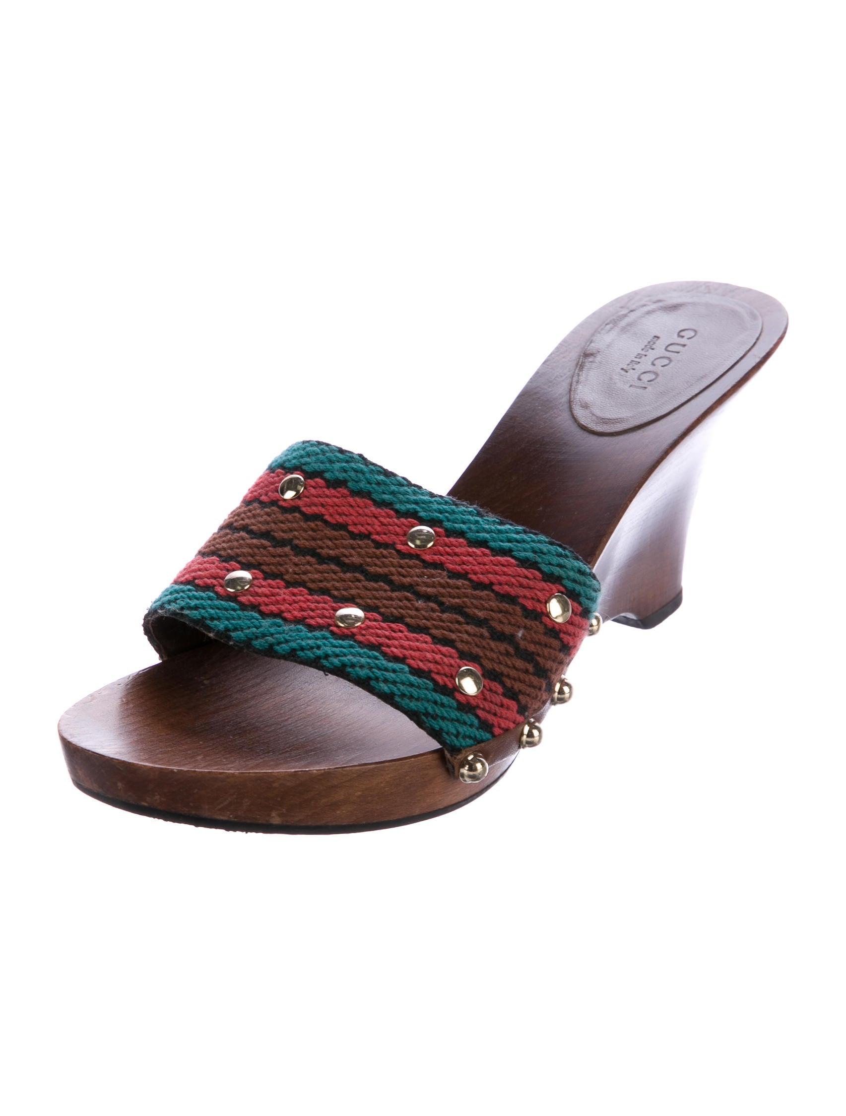 gucci studded canvas slide sandals shoes guc164586