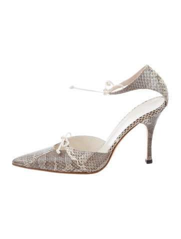 Gucci Snakeskin Pointed-Toe Pumps None