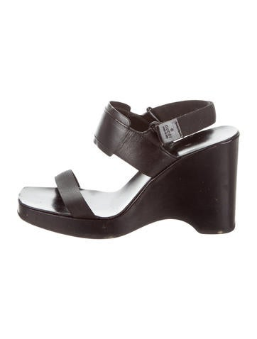 Gucci Leather Velcro Wedges None