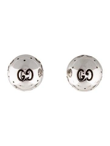 78bf1da349c Gucci 18K Icon Bold Boule GG Stud Earrings - Earrings - GUC168351 ...