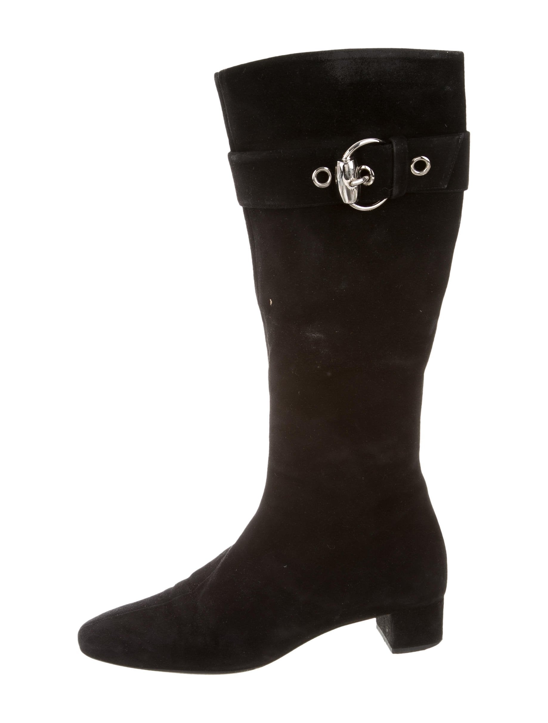 gucci suede buckle accented boots shoes guc168934 the realreal