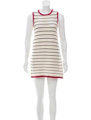 Gucci 2015 Open Knit Striped Dress None