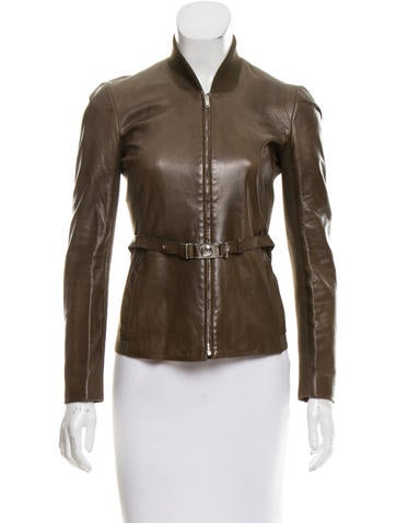 Gucci Belted Leather Jacket None
