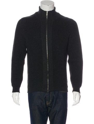 Gucci Wool Rib Knit Zip Sweater None