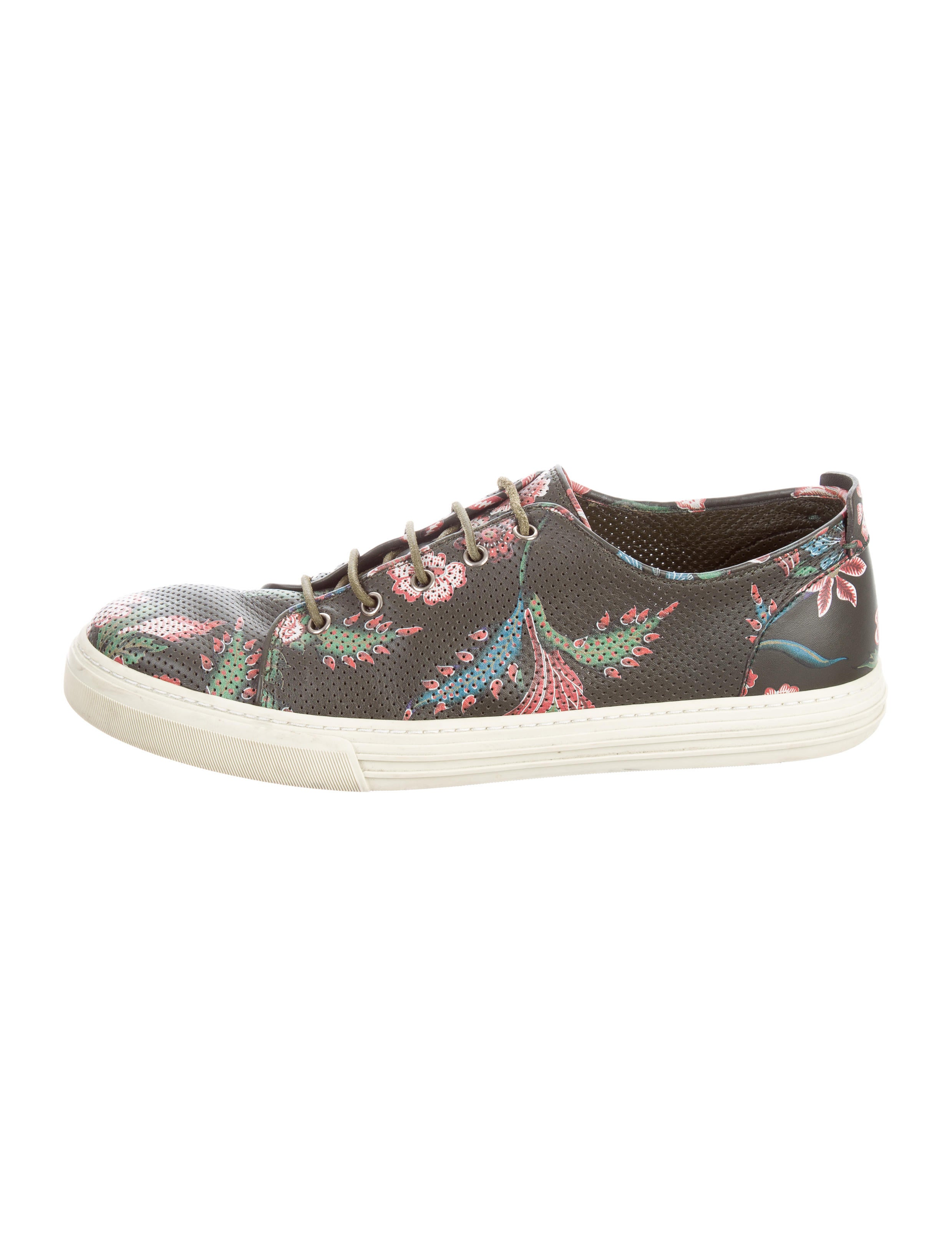 gucci leather floral print sneakers - shoes