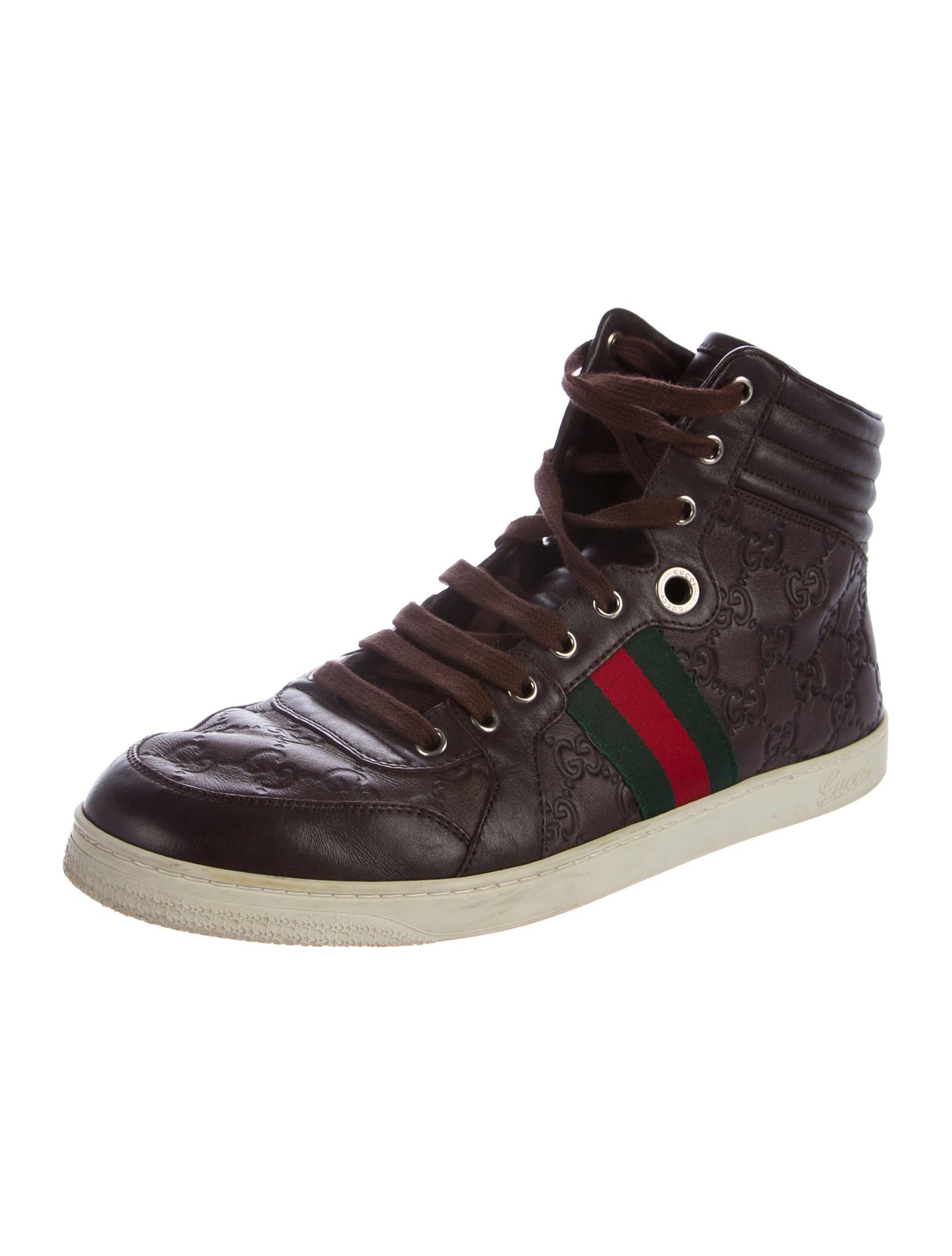 gucci leather guccissima sneakers