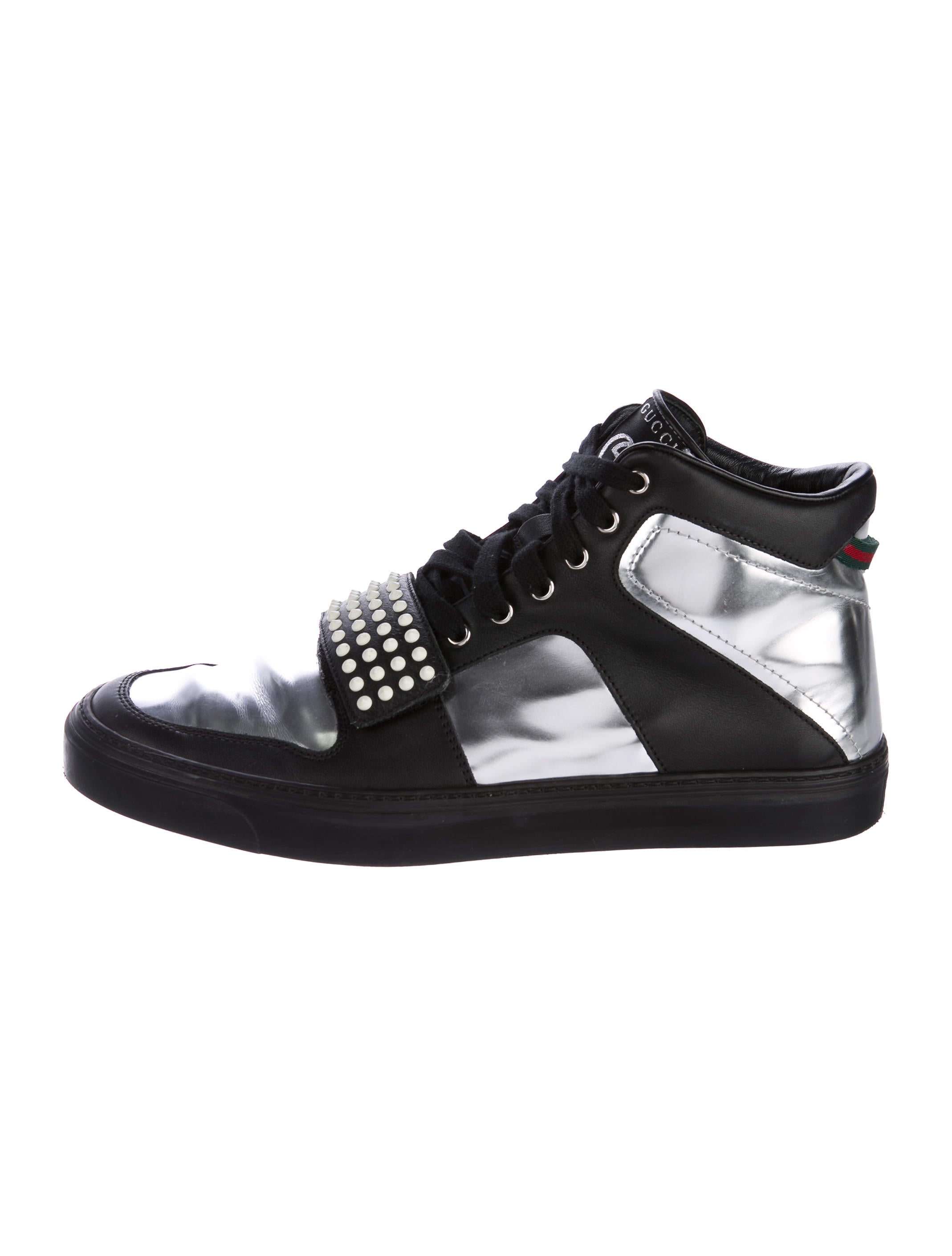 042fd6e9ea3 Gucci Patent Leather-Paneled Spiked Sneakers - Shoes - GUC170562 ...