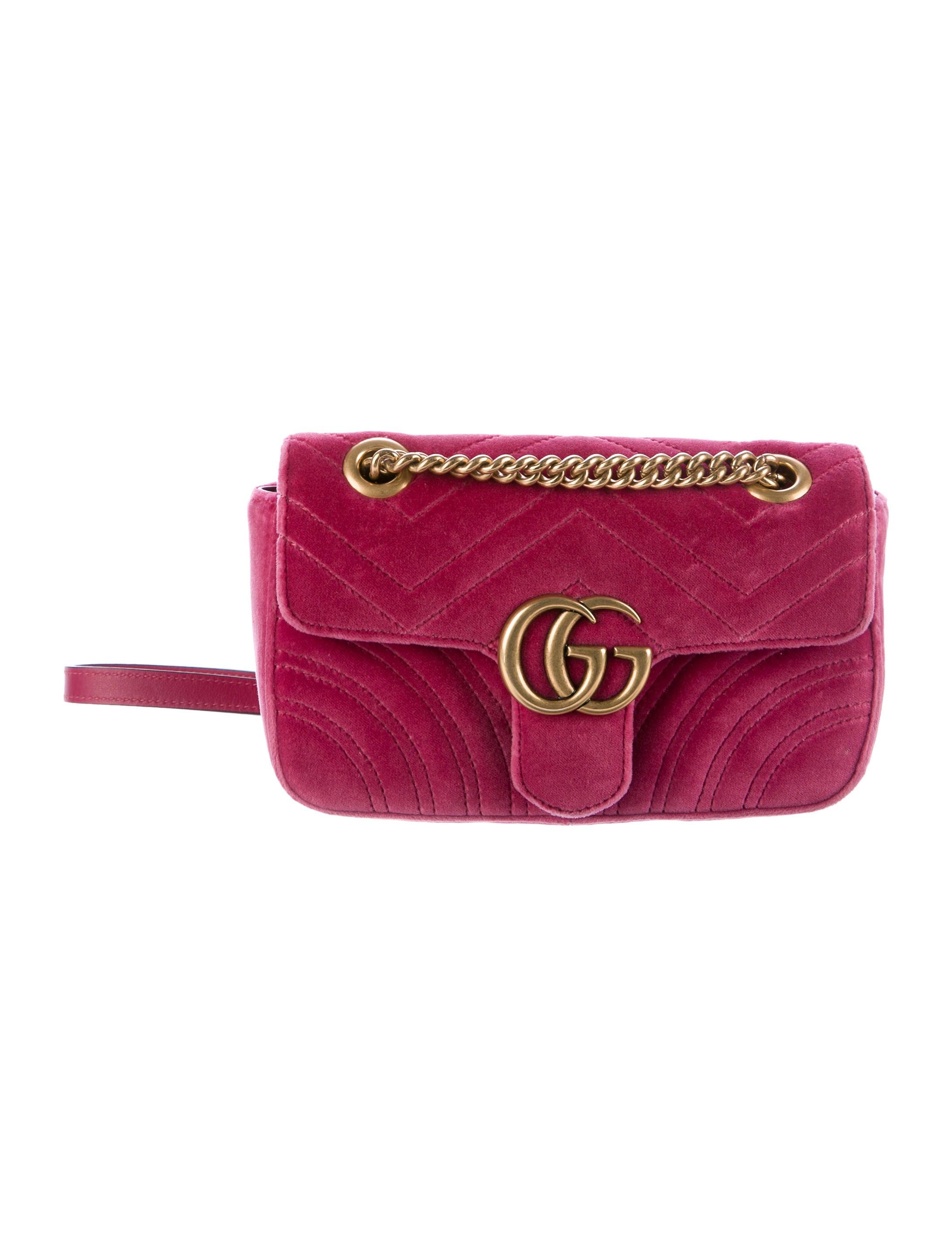 9cb223b64466 Gucci 2017 GG Marmont Velvet Mini Bag - Handbags - GUC171295 | The ...
