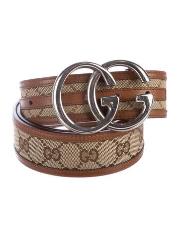 Gucci Leather-Trimmed GG Belt None