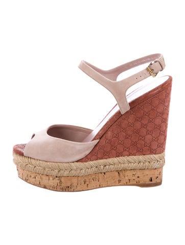 Gucci Guccissima Platform Wedge Sandals None