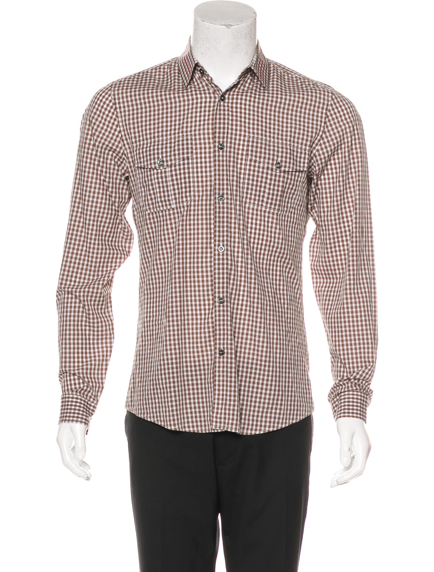 gucci gingham slim fit shirt clothing guc171675 the