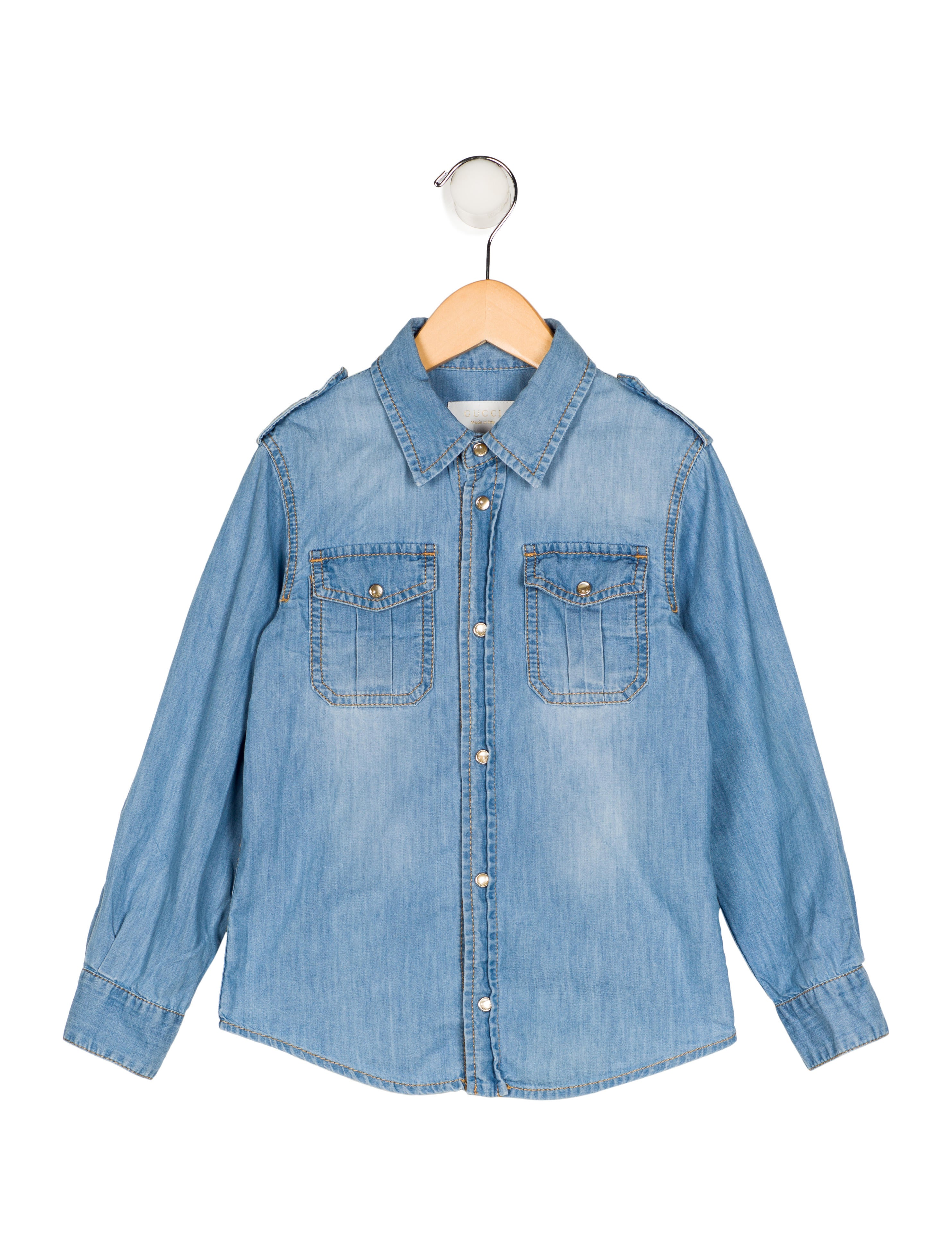 Gucci boys 39 chambray long sleeve shirt boys guc171727 for Chambray shirt for kids