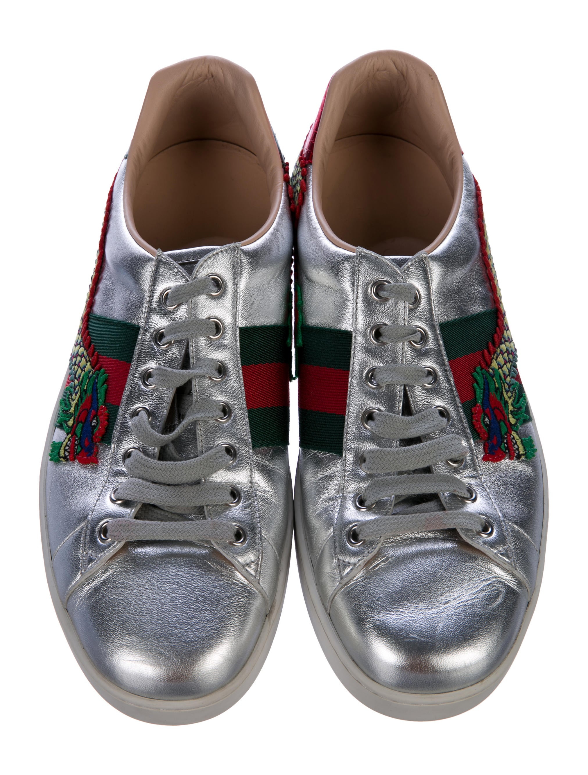274aca4fb02 Gucci Unisex Ace Embroidered Sneaker 473765 Silver
