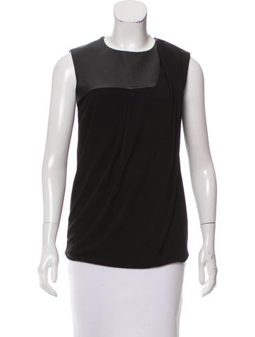 Gucci Leather-Panel Sleeveless Top None