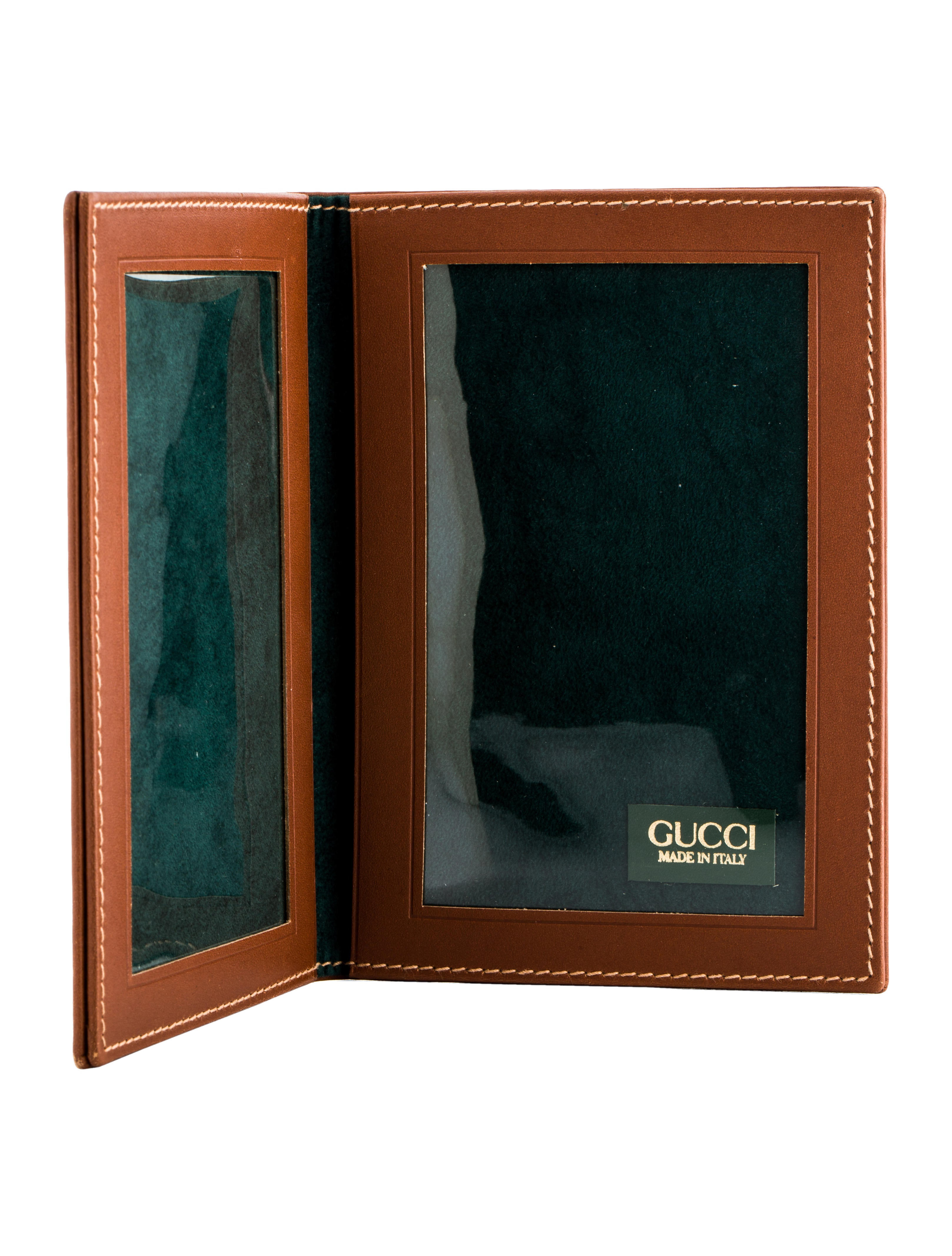 Gucci Vintage Leather Folding Picture Frame Decor And