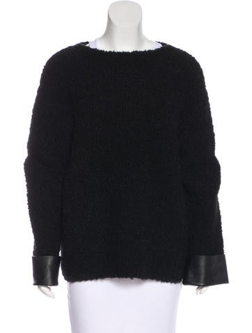 Gucci Leather-Accented Wool Sweater None