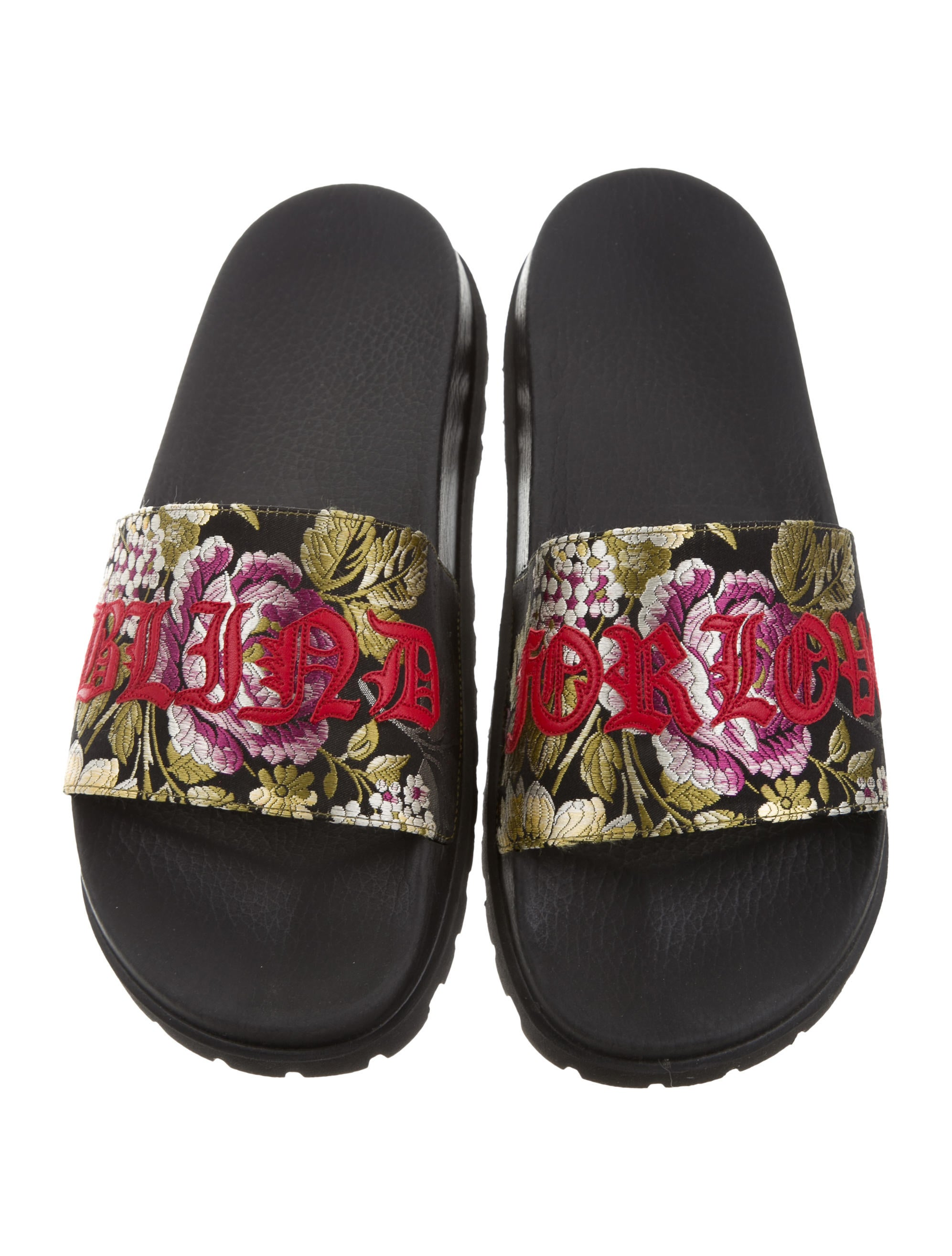 gucci pursuit floral jacquard sandals w   tags - shoes