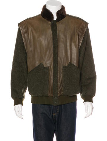 Gucci Shearling-Trimmed Wool Bomber Jacket None