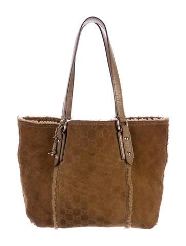 b3f9e21e0c8b Gucci Shearling Jolicoeur Tote - Handbags - GUC178305   The RealReal