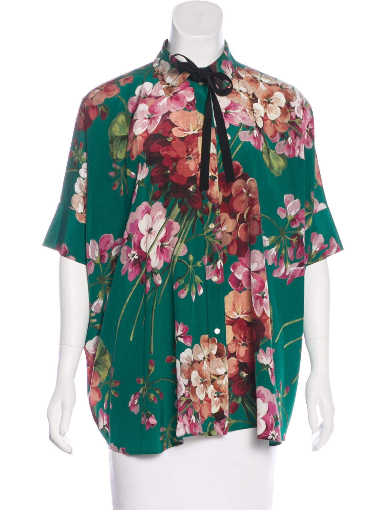 9f5a75be Gucci Blooms Silk Blouse - Clothing - GUC178733 | The RealReal