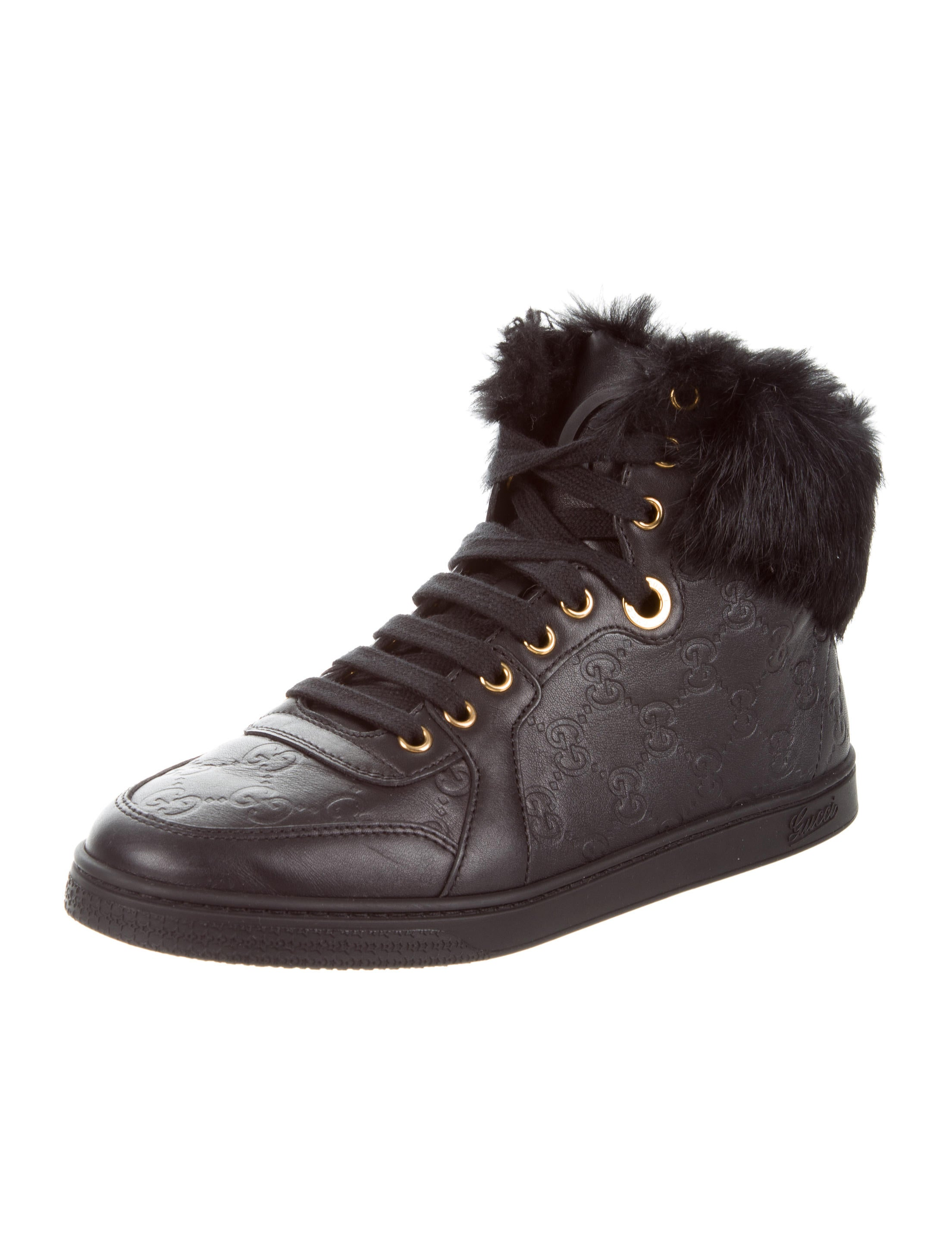 84238126aa2 Gucci Fur-Trimmed Guccissima Sneakers - Shoes - GUC180928