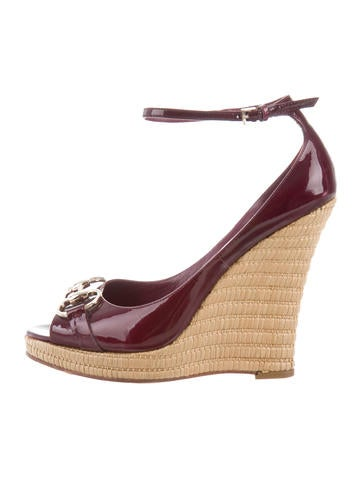 Gucci Patent Leather Horsebit Wedges None