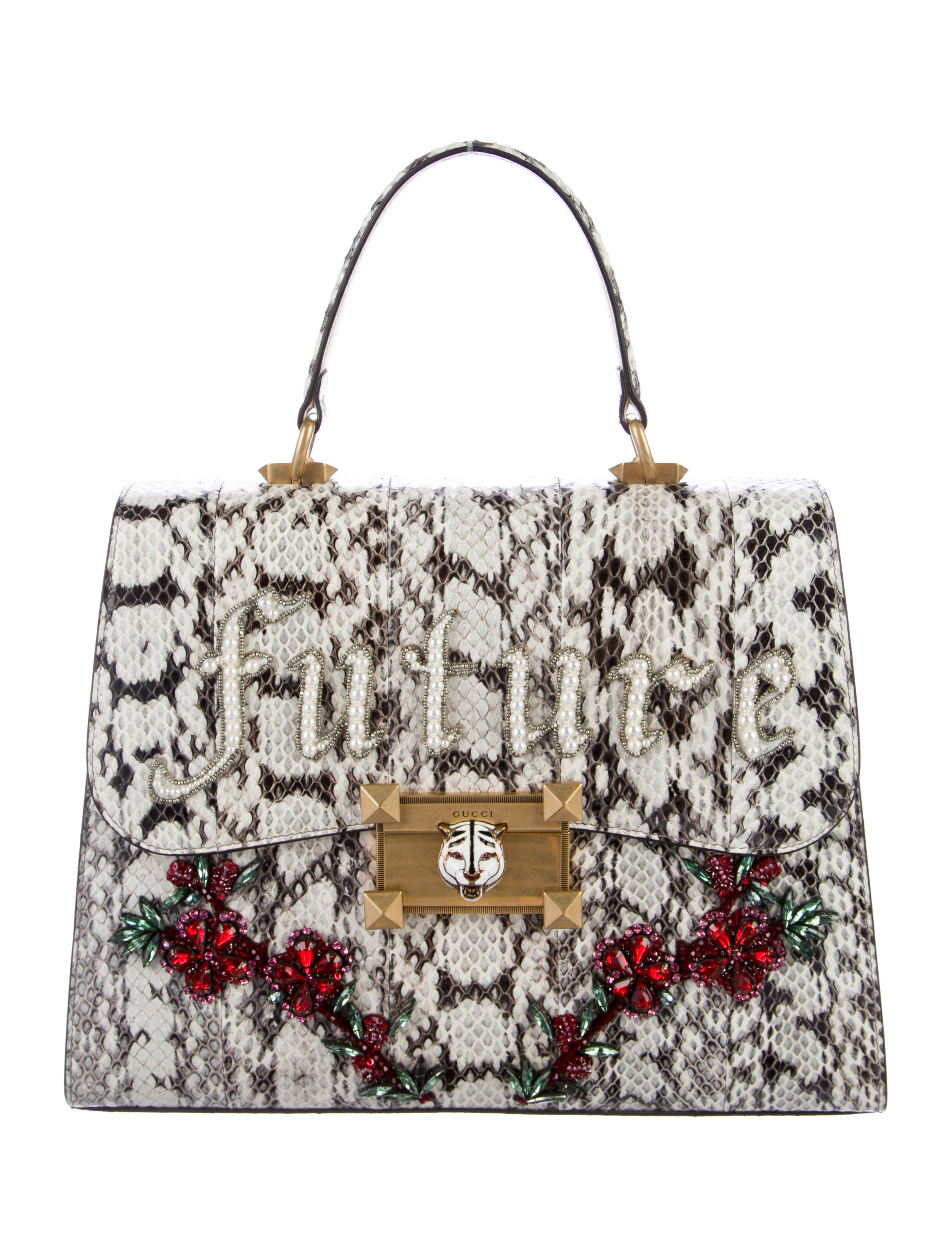 ac7914a5fc3 Gucci 2017 Osiride Future Snakeskin Medium Top Handle Bag - Handbags ...